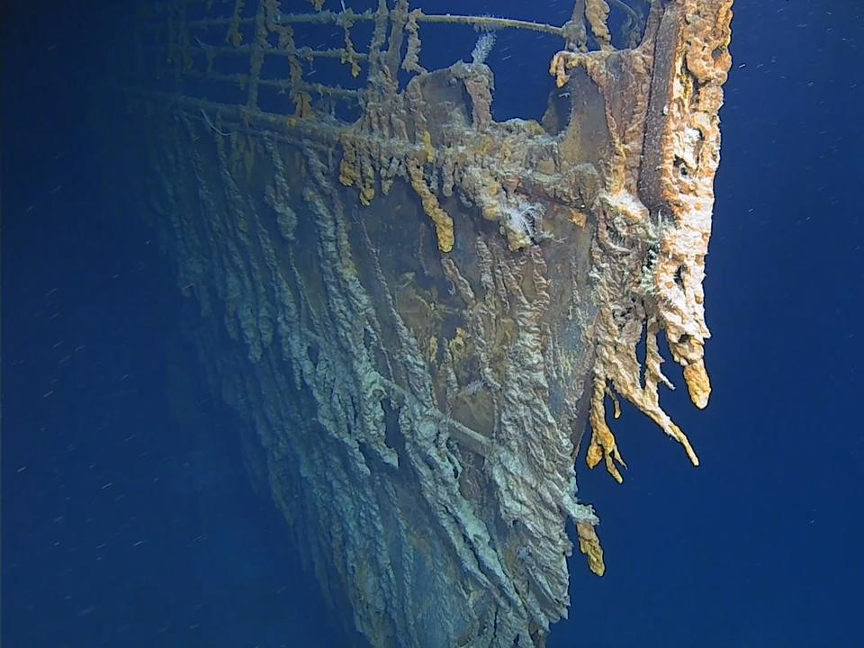 2019年8月の調査で撮影されたタイタニック号の船首。
