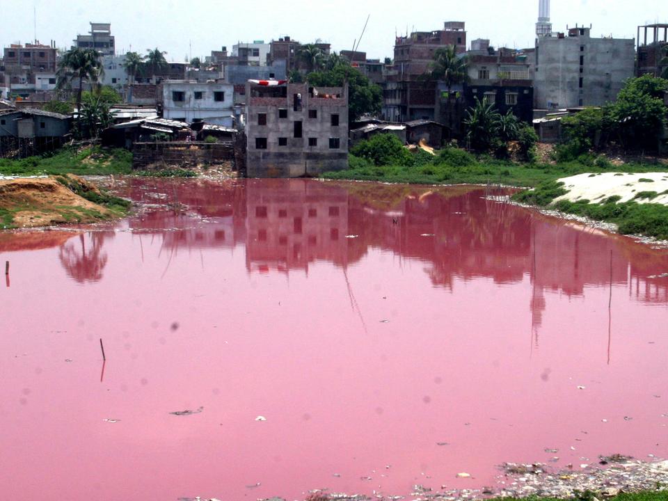 近くの皮なめし工場から化学物質やゴミが廃棄され、赤く染まった池。ダッカ、バングラデシュ。2005年5月。