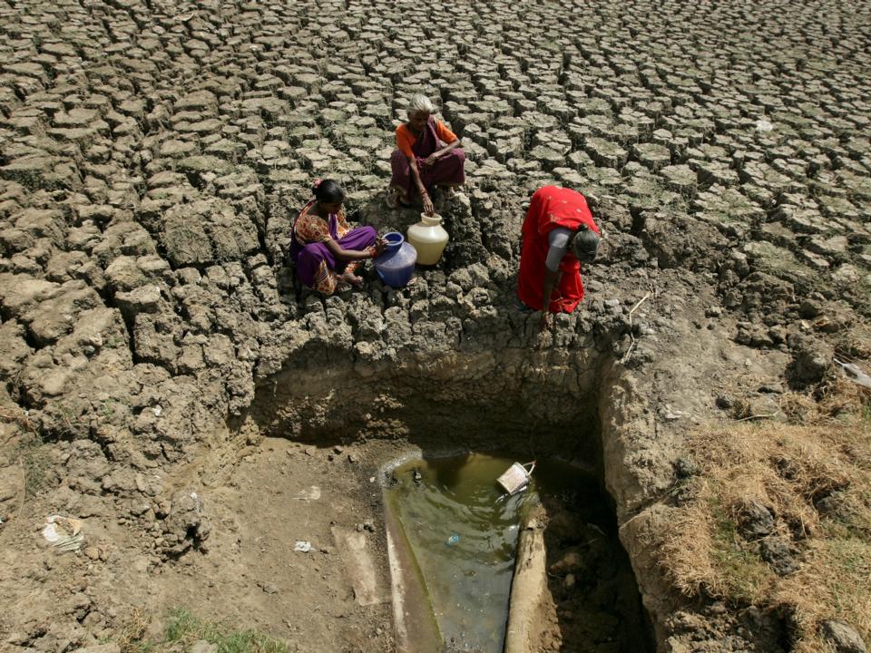 断水になったインドのチェンナイで、かろうじて水の残った湖から水を汲む女性。2019年6月。