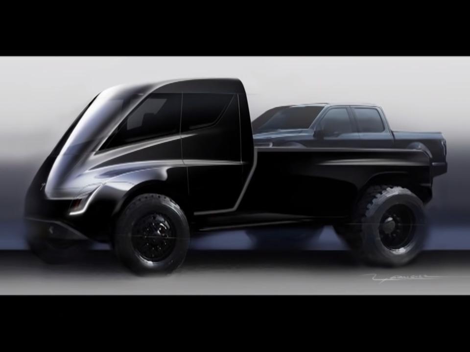 テスラのピックアップトラックのCG。テスラはまだトラックの最終デザインを発表していない。