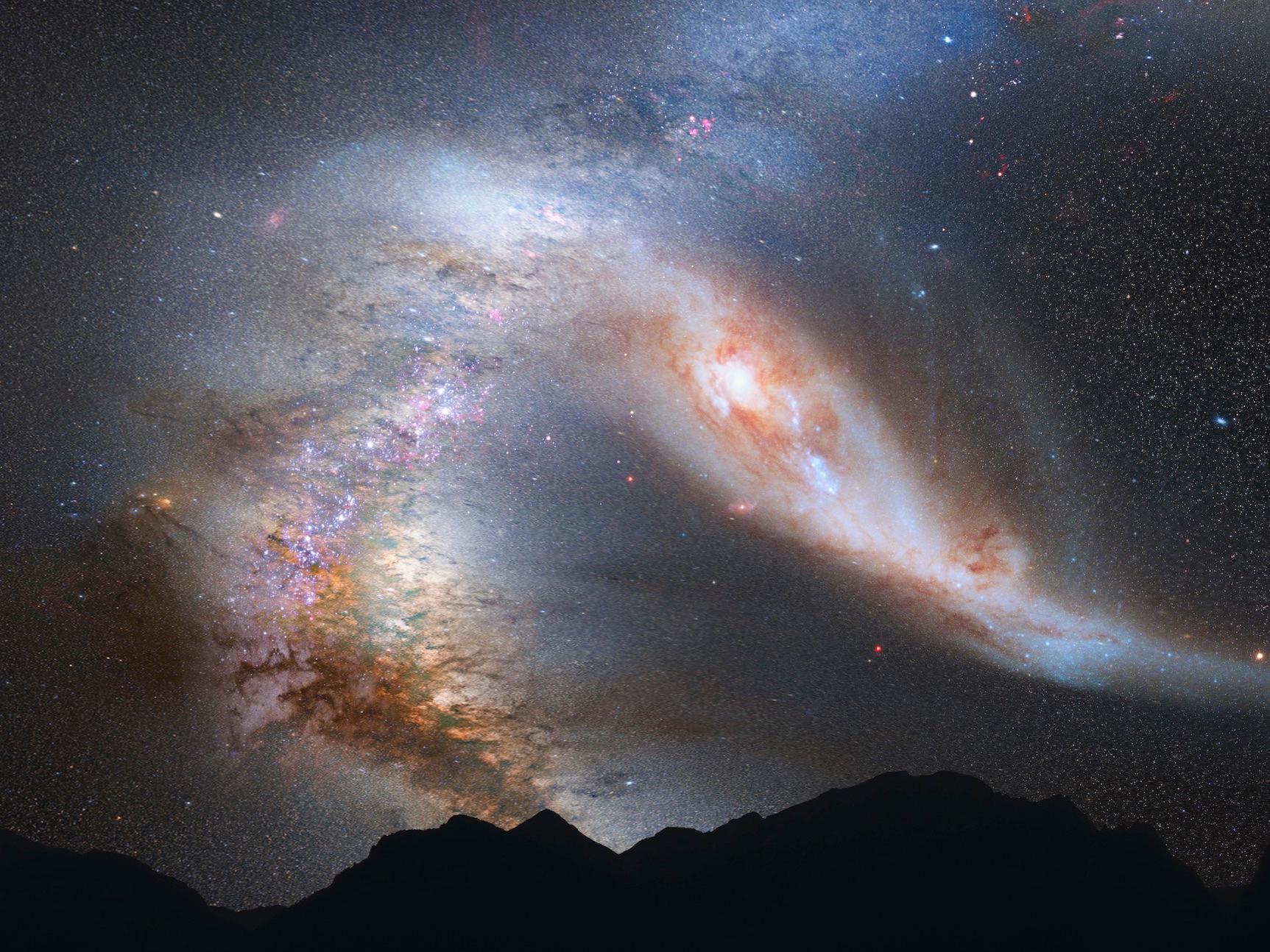 アンドロメダ銀河と天の川銀河が衝突 40億年後の夜空はこう見える