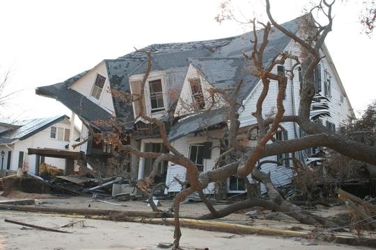 2005年9月のハリケーン「カトリーナ」で倒壊した家と倒木、送電線。ミシシッピ州で。