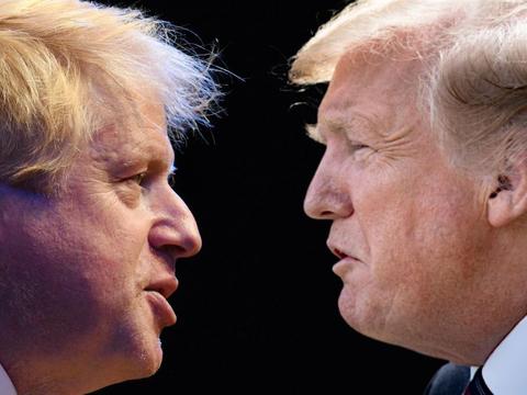 イギリスのボリス・ジョンソン首相(左)とアメリカのドナルド・トランプ大統領。