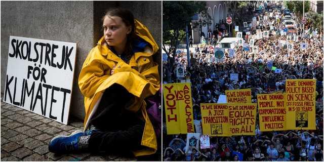 グレタ・トゥンベリさん(左)、サンフランシスコの気候マーチ(右)