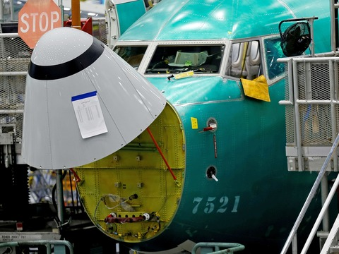 ボーイング737MAXの迎角センサー。ワシントン州レントンのボーイング社の工場で。2019年3月27日。