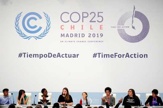 気候変動活動家のグレタ・トゥンベリさんが出席した、マドリードでのCOP25気候サミットの記者会見。