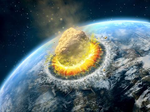小惑星が地球に衝突する様子の想像図。
