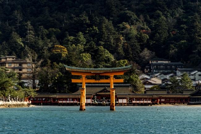 写真家・近藤篤氏が撮影した大鳥居。海の中で鮮やかの朱色がよく映える。宮島を象徴する風景だ。