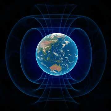 地球の磁場のイメージ。
