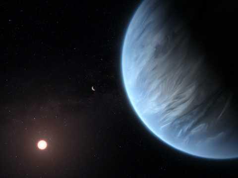 太陽系外惑星K2-18bの想像図。