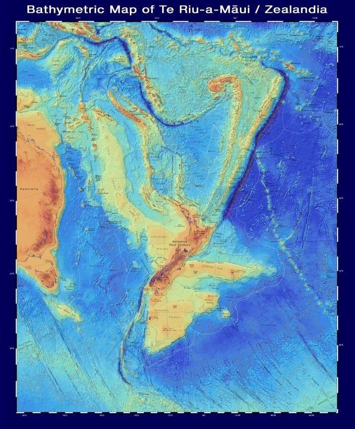ジーランディアとその周辺の水深分布図。 水の下にある大陸の形を表している。