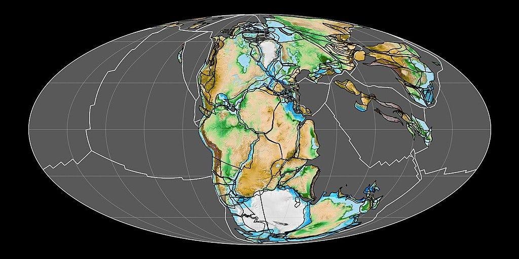 2億年前のパンゲア大陸の地図。白い線はプレート境界。