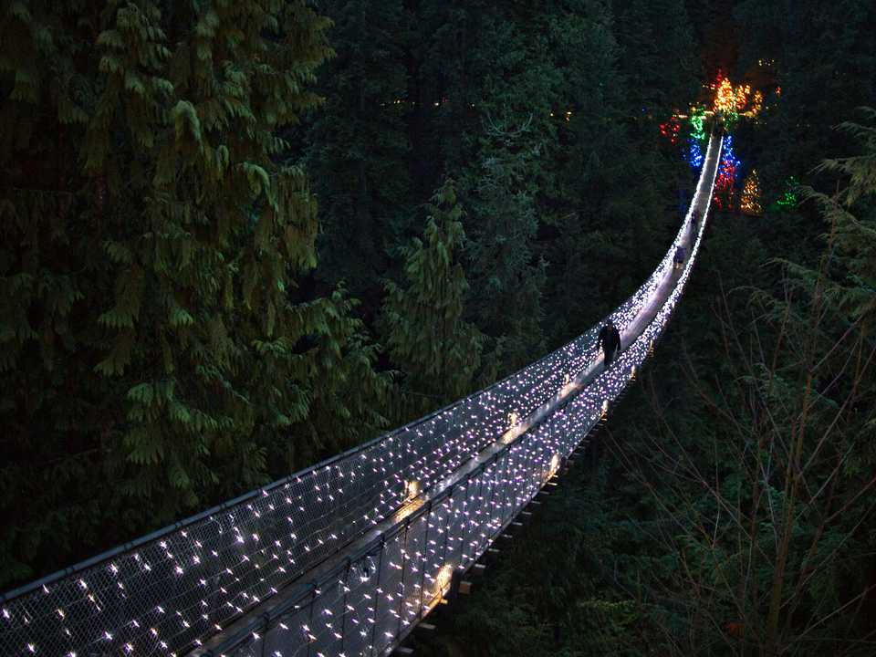 キャラピノつり橋(Capilano Suspension Bridge)。