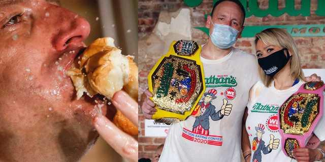 左:今年のネイサンズホットドッグ早食いコンテストで、世界記録を達成したジョーイ・チェスナット。右:ポーズを決める男性部門勝者のチェスナットと、女性部門勝者のミキ・スドー。2020年7月4日、ニューヨークのブルックリンにて。