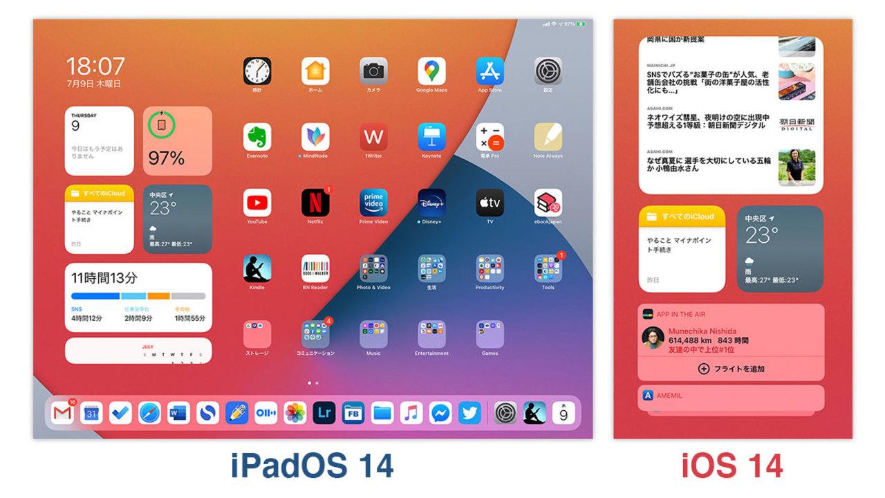 iPadOS 14とiOS 14の違い