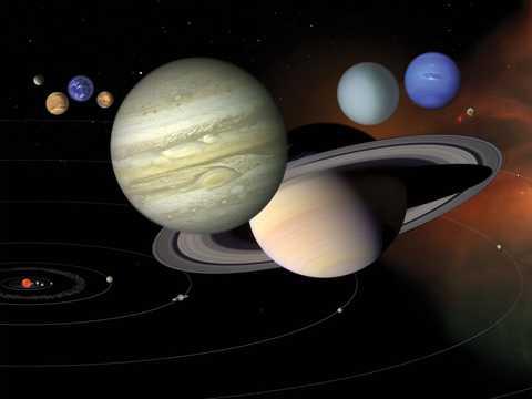 太陽系の想像図。惑星の大きさや配置がイメージできるように描かれている。
