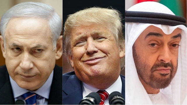 左からイスラエルのネタニヤフ首相、アメリカのトランプ大統領、UAEのムハンマド・アブダビ皇太子。