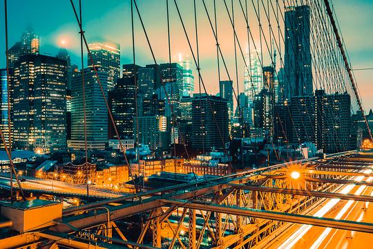 ニューヨーク ブルックリン橋 夜景