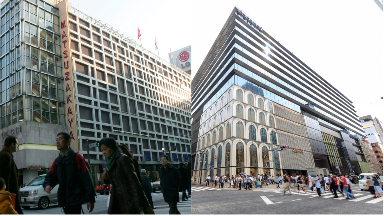 松坂屋銀座店(2007年)と跡地にできたGINZA SIX。