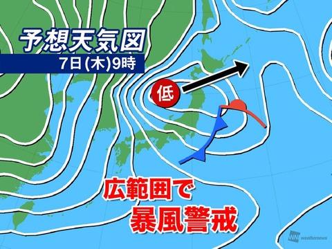 7日(木)9時の予想天気図