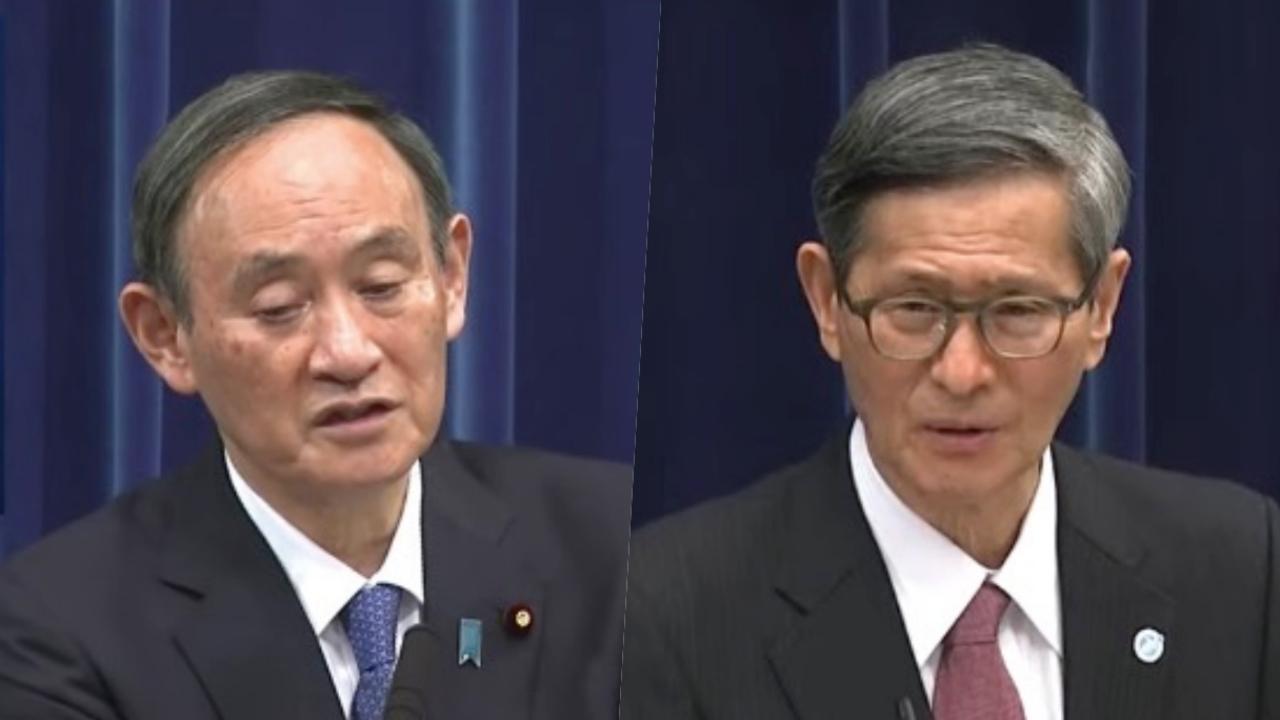 記者会見する菅義偉首相と尾身茂・新型コロナウイルス対策分科会会長(2021年1月7日)