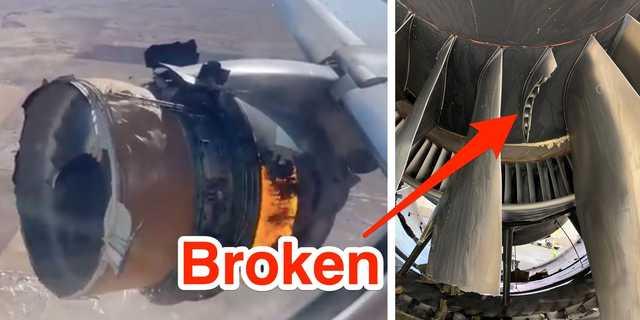 ユナイテッド航空328の故障したエンジンと、調査員が共有した損傷したエンジンの写真