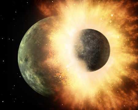 地球と原始惑星の衝突のイメージ図。
