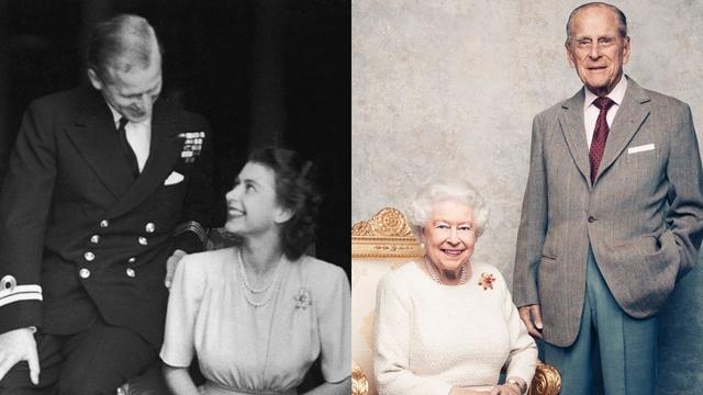 エリザベス女王とフィリップ殿下。左は1947年、右が2017年。