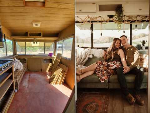 ジャネール・ペインさんは、隣人から無料で譲り受けた古いトレーラーを改装し、小さいがすてきな「移動式の家」に変身させた。