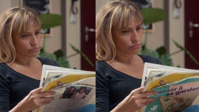 ミリアドによる加工前(左)と加工後(右)の比較写真。人物が手にしている新聞のこちらを向いている面に、広告が挿入されている。