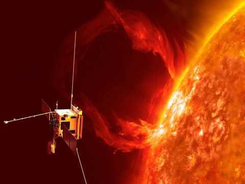 太陽の爆発現象を観測するソーラーオービターのイメージ図。