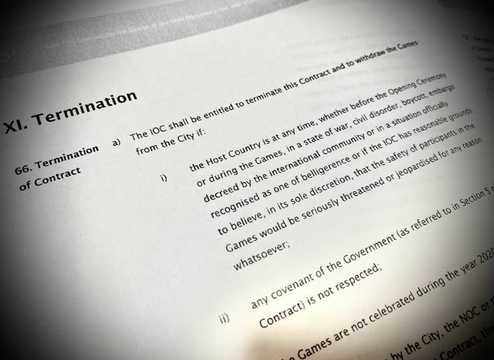 東京オリンピック・パラリンピック大会の開催都市契約。注目されるのは、大会中止に絡む66条「解除(Termination)」だ。