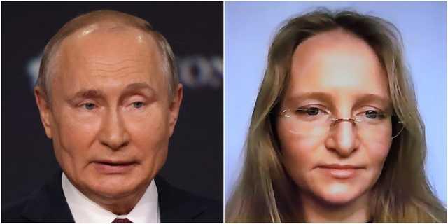 ロシアのプーチン大統領(左)とカテリーナ・チホノワ。