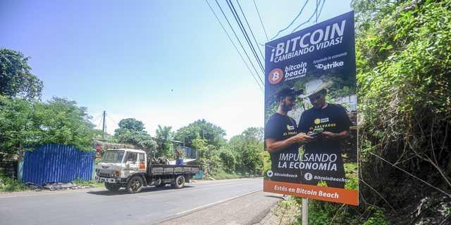 A bitcoin sign in El Salvador.