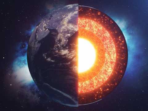地球の内部を表したイラスト。