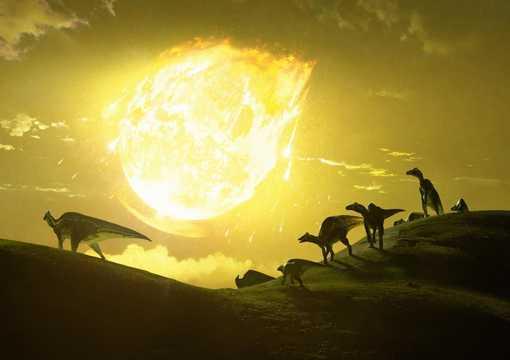 6600万年前に小惑星チクシュルーブが現在のメキシコ・ユカタン半島に衝突した様子を描いた想像図。