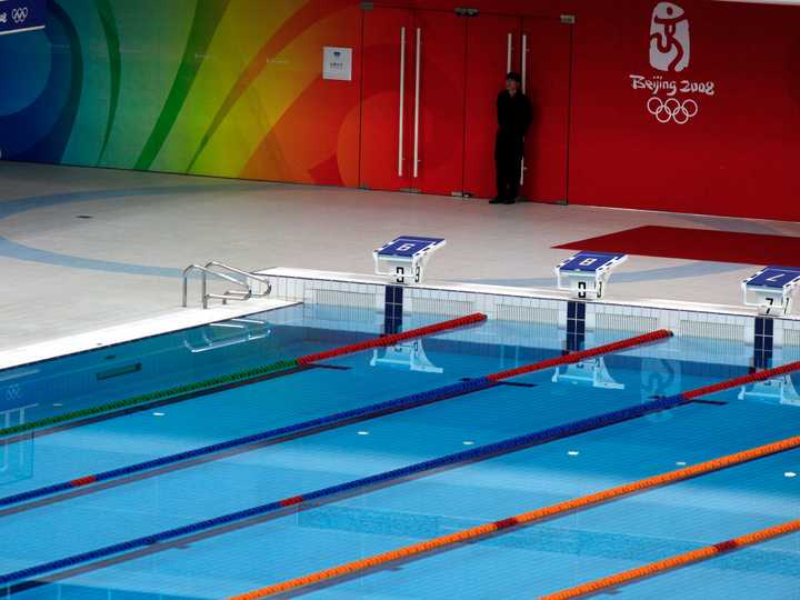 五輪が開催されたプール。