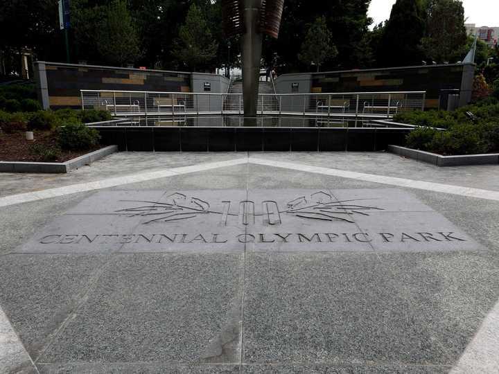 ジョージア州アトランタにある、センテニアル・オリンピック・パークの名が刻まれた場所。2019年7月28日撮影。