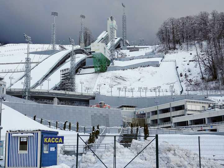 ソチで開催された2014年冬季五輪の会場だったジャンプ台の様子。2018年1月31日撮影。