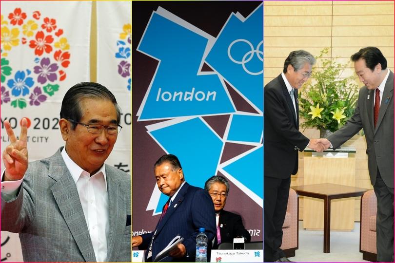 石原慎太郎都知事、森喜朗・大会組織委員会会長と竹田恒和JOC会長、竹田会長と野田佳彦首相