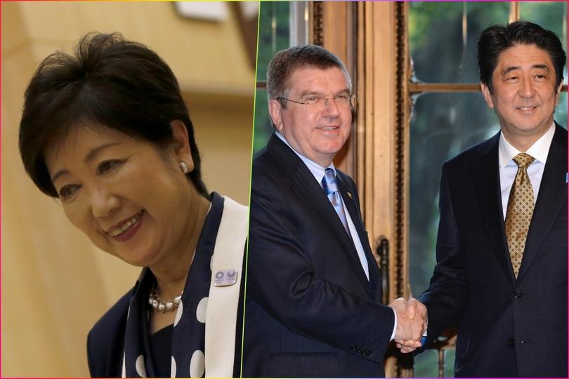 辞職した舛添前知事に代わって、都知事に就任した小池百合子氏(左)。握手を交わすIOCバッハ会長と安倍首相。