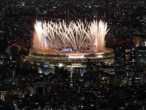 東京オリンピックの開会式は無観客で行われた。