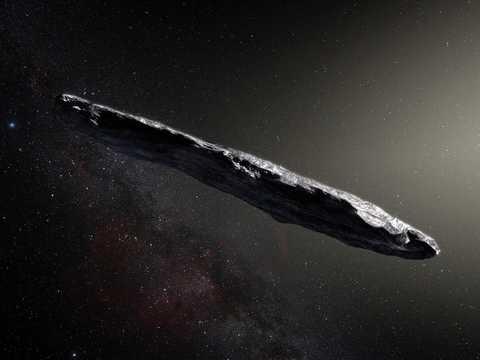 An artist's impression of interstellar object 'Oumuamua