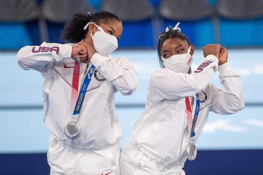 Jordan Chiles and Simone Biles sported Team USA masks at the Tokyo 2020 Games.