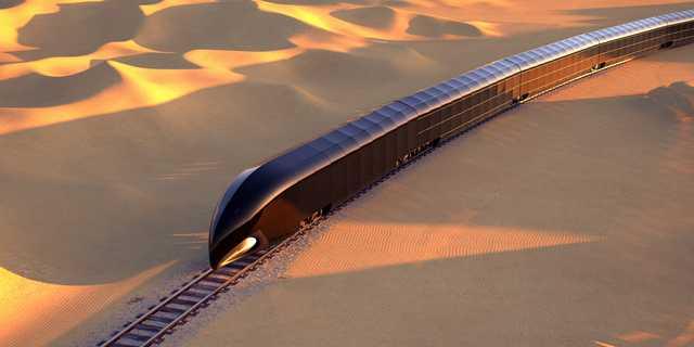 砂漠を走る「Gトレイン」のイメージ画像。