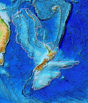 灰色の線で囲まれた範囲がジーランディアを示す。