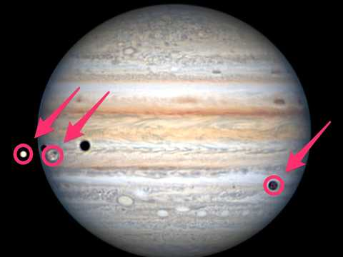 Left to right: Europa, Ganymede, and Callisto cross in front of Jupiter, August 15, 2021.