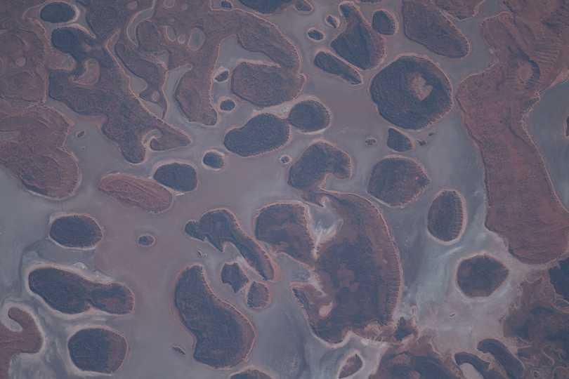 西オーストラリア州の東端、砂漠に覆われた地域。2021年5月14日撮影。
