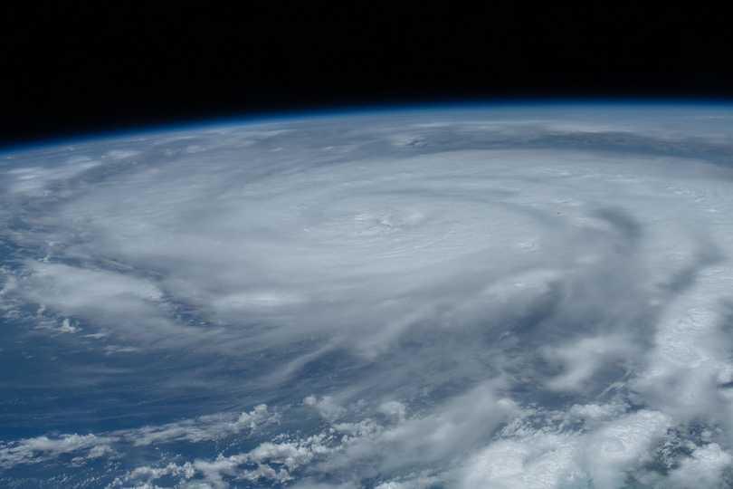 ハリケーン「アイダ」。このときはカテゴリー2だった。2021年8月28日撮影。