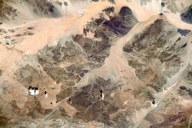 宇宙飛行士メーガン・マッカーサーが宇宙から撮影したカリフォリニア州のジョシュア・ツリー国立公園。